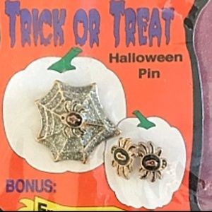 Trick Or Treat Spider Web Pin Spider Earrings